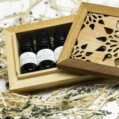 4 Bath Oils WOODEN BOX